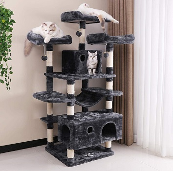 BEWISHOME Large Cat Tree Condo with Sisal Scratching Posts Perches Houses Hammock, Cat Tower Furniture Kitty Activity Center Kitten Play House