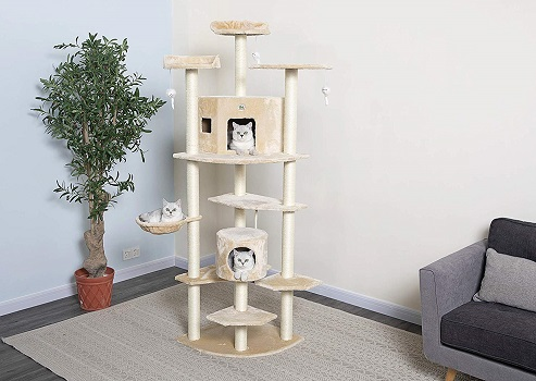 Go Pet Club Cat Tree, 80 Inch, Beige