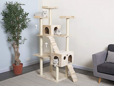 Go Pet Club Cat Tree Beige 72 inch high