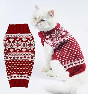 Alemon Red Fair Isle Turtleneck Sweater for Small Dogs & Cats Knitwear