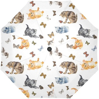 INTERESTPRINT Seamless Cats and Butterfly Umbrella