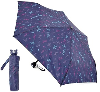 Ladies Compact Cat Design Umbrella