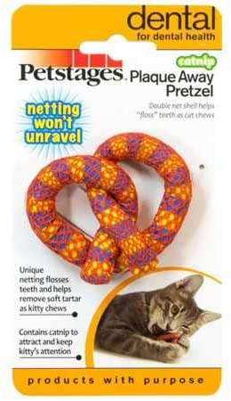 Petstages Catnip Plaque Away Pretzel Cat Chew Toy