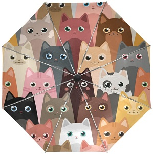 Wamika Cute Kitty Cats Umbrella Automatic Open Close